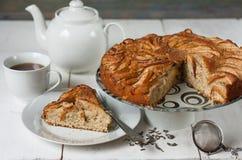 Tea with apple pie Stock Photos
