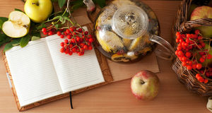 Tea, apples and diary Royalty Free Stock Photo