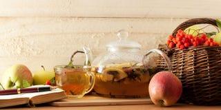 Tea, apples and diary Stock Photos