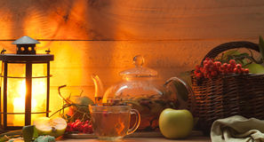 Tea and apples Stock Image