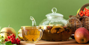 Tea and apples Stock Photography