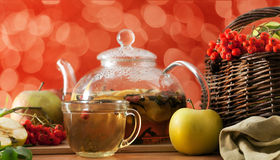 Tea and apples Stock Images