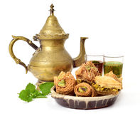 Tea and assorted baklava pastries Royalty Free Stock Photos