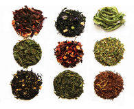 Tea assortment. Composition of nine teas (green, black, herbal, flower tea sorts) isolated on white Royalty Free Stock Photo