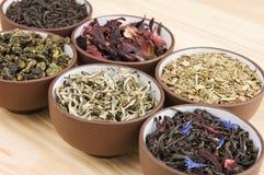 Tea assortment. Assortment of dry tea in ceramic bowls: green, black, herbal, flower tea sorts Stock Photos