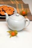 Tea Atmosphere. On the desk with white set Royalty Free Stock Photo