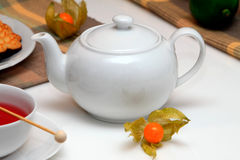 Tea Atmosphere. On the desk with white set Royalty Free Stock Images