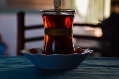 Glass of Turkish Tea. Tea back background breakfast city landscape copy space culture dawn design drink dusk east eastern royalty free stock photos