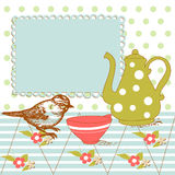 Tea background. Bird and tea in the kitchen Royalty Free Stock Image