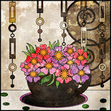 Tea background with cup and flowers. Pattern in vintage grunge  Stock Photos
