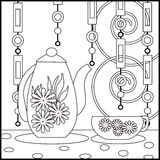 Tea background with cup, pot and flowers. Pattern for menu, wall Stock Images