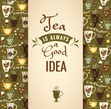 Tea background with quote. Poster with typography Stock Photos