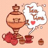 Tea Background With Samovar Stock Photos