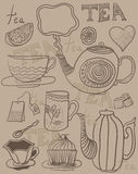 Tea background in vector. Image background objects tea, cups and saucers in vector Royalty Free Stock Photo