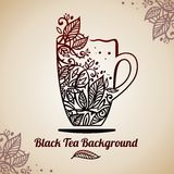 Tea background, vector illustration. Tea background, illustration with cup and leafs Royalty Free Stock Photography