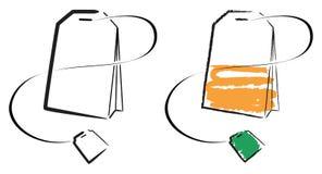 Tea bag. Raster sketch image of a tea bag stock illustration