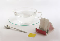 Tea bag. Hot water and a tea bag Royalty Free Stock Photo