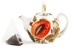 Tea Bag and brewing teapot Stock Photography