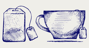 Tea bag and cup. Doodle style Stock Photo