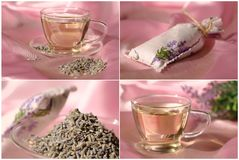 tea and bag of dried lavender Stock Image