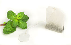 Tea bag and fresh mint Stock Images