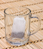 Tea bag in a glass. Tea bag in empty glass Royalty Free Stock Photo