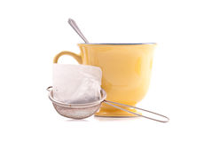 Tea Bag in Hot Water Strainer Royalty Free Stock Photo