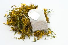 Tea bag of Hypericum Stock Images