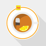 A tea bag with lemon is brewed in a cup. A cup of tea. Flat design, vector illustration, vector stock illustration