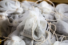 Tea bag made of fabric in a box Stock Images