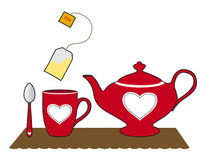 Tea bag and red cup. Teapot, cup and tea bag on a placemat Royalty Free Illustration