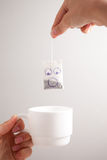 Tea bag smiley Royalty Free Stock Images