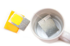 Tea bag with white cup Stock Image