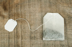 Tea bag with white labe Stock Photo