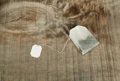Tea bag with white label Royalty Free Stock Photos