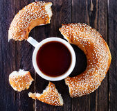 Tea and bagel Stock Photo