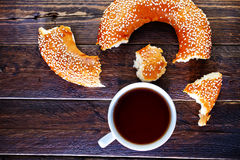 Tea and bagel Royalty Free Stock Images