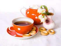 Tea with bagels Stock Photos