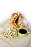 Tea and bagels Stock Photos