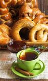 Tea and bagels Royalty Free Stock Photos