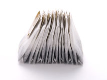 Tea bags. Close-up of tea bags on white Stock Image