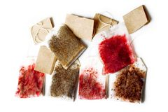 Tea bags. Wet tea bags isolated on white background Royalty Free Stock Photography