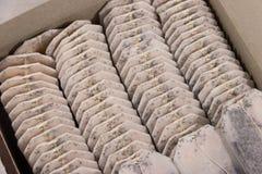 Tea bags arrange in box close-up. Tea bags arrange in a box close-up Stock Photo