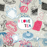Tea bags, cups and kettles pattern Stock Image