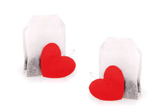 Tea bags with hearts Royalty Free Stock Image