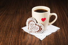 Tea bags with labels heart-shaped biscuits in the form of heart Royalty Free Stock Photos
