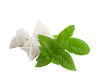 Tea bags with mint Royalty Free Stock Image