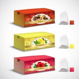 Tea Bags Packaging Realistic Set royalty free stock photo