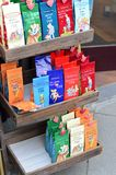 German tea bags on shelves stand Stock Photo