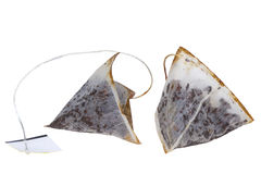 Tea bags. Used tea bags with isolated on white background Royalty Free Stock Photo